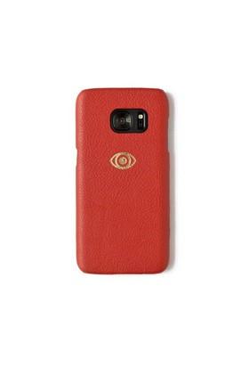 Sembol Baskılı Kırmızı Deri Telefon Kılıfı - Samsung Galaxy S7