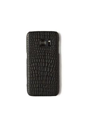 Timsah Baskı Siyah Deri Telefon Kılıfı - Samsung Galaxy S7