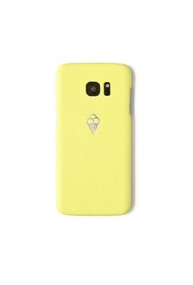 Sembol Baskılı Sarı Deri Telefon Kılıfı - Samsung Galaxy S7 Edge