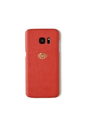 Sembol Baskılı Kırmızı Deri Telefon Kılıfı - Samsung Galaxy S7 Edge