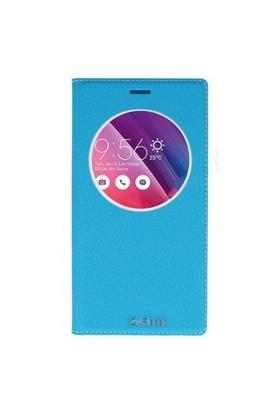 Lopard Asus Zenfone 2 Laser 6.0 Pencereli Mavi Dolce Kapaklı Deri Akıllı Kılıf