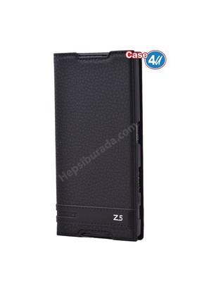 Case 4U Sony Xperia Z5 Gizli Mıknatıslı Kapaklı Kılıf Siyah