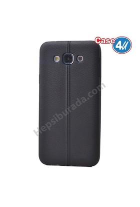 Case 4U Samsung Galaxy E7 Desenli Silikon Kılıf Siyah
