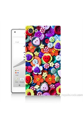 Teknomeg Sony Xperia Z5 Premium Kapak Kılıf Düğmeler Baskılı Silikon