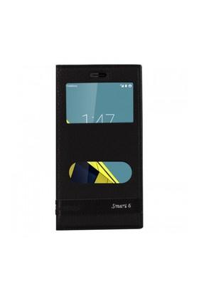 Lopard Vodafone Smart 6 Ultra Kılıf Kapaklı Pencereli Ellite Case Deri Siyah
