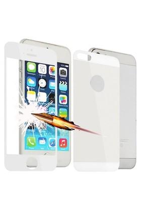 Lopard Apple İphone 5 5S Ön Arka Temperli Renkli Ekran Koruyucu Film Beyaz