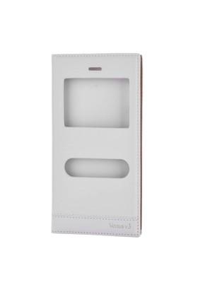 Gpack Vestel V3 5040 Kılıf Pencereli Kapaklı Milano - Beyaz