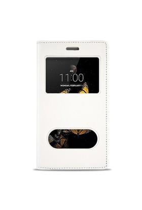 Fitcase Dolce Lg K8 K350 Gizli Mıknatıslı Pencereli Kılıf Beyaz