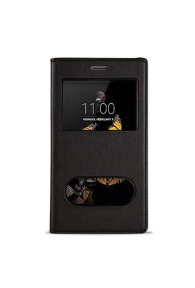 Fitcase Dolce Lg K8 K350 Gizli Mıknatıslı Pencereli Kılıf Siyah