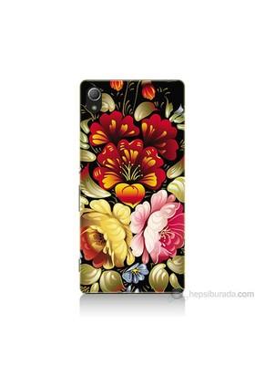 Teknomeg Sony Xperia Z4 Kılıf Kapak Çiçekler Baskılı Silikon