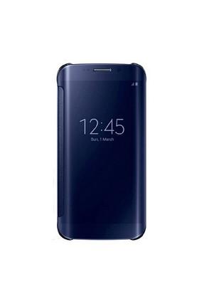 Samsung Galaxy S6 ZG920 Clear View Cover Kılıf (Siyah-Koyu Mavi)