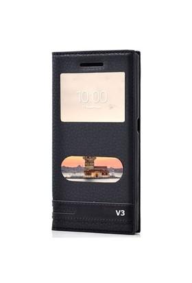 Kılıfshop Vestel Venüs V3 5570 Pencereli Kılıf Siyah + Ekran Koruyucu