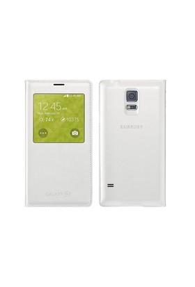 Kılıfshop Samsung Galaxy S5 S View Cover Beyaz