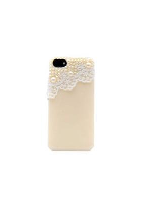 Vacca Apple iPhone 5/5s Dantel Boncuk Desenli Sarı