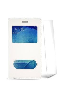 Volpawer Samsung Galaxy S6 Edge Pencereli Kılıf + Ekran Koruyucu Beyaz