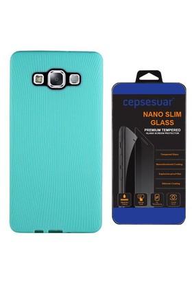 Cepsesuar Samsung Galaxy E7 Kılıf Line Yeşil + Cam