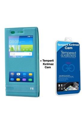 Teleplus Huawei Honor Y6 Lüx Pencereli Kılıf Turkuaz + Temperli Cam Ekran Koruyucu