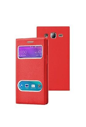 Microsonic Samsung Galaxy J2 Kılıf Dual View Gizli Mıknatıslı Kırmızı