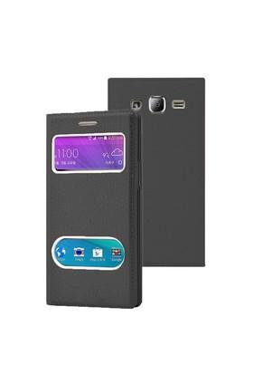 Microsonic Samsung Galaxy J2 Kılıf Dual View Gizli Mıknatıslı Siyah