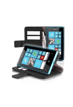 Microsonic Nokia Lumia 720 Cüzdanlı Standlı Deri Kılıf Siyah - CS150-WLT-STN-LUMIA-720-SYH