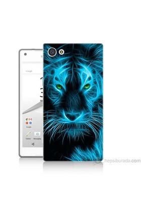 Teknomeg Sony Xperia Z5 Mini Kapak Kılıf Mavi Kaplan Baskılı Silikon