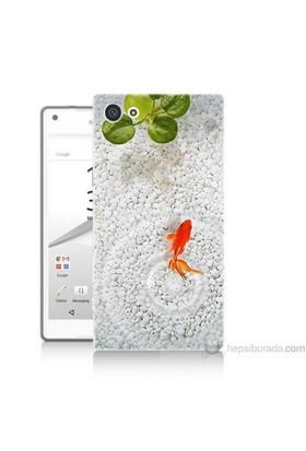 Teknomeg Sony Xperia Z5 Premium Kapak Kılıf Kırmızı Balık Baskılı Silikon