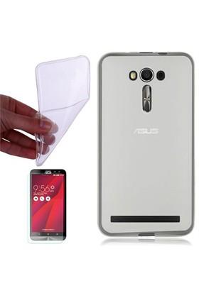 Gpack Asus Zenfone 2 Laser 6.0 Kılıf 0.2Mm Şeffaf Silikon + Cam