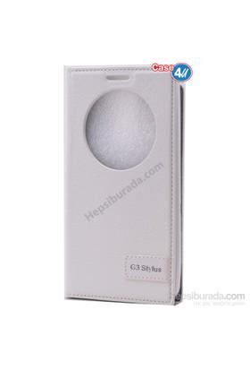 Case 4U Lg G3 Stylus Pencereli Kapaklı Kılıf Beyaz