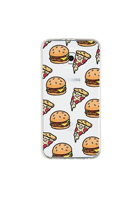 Remeto Samsung Galaxy Note 2 Transparan Silikon Resimli Hamburger Pizza