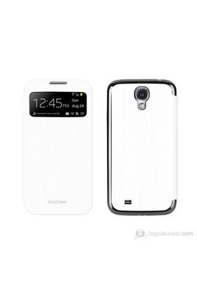 Imymee Samsung Galaxy S4 i9500 Akıllı Flip Kapak + Ekran Koruyucu Beyaz