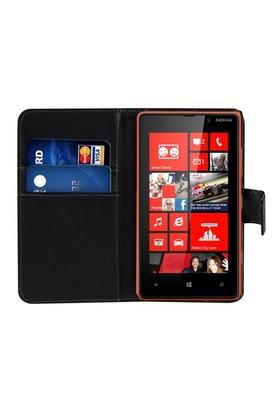 Microsonic Cüzdanlı Deri Nokia Lumia 820 Kılıf Siyah