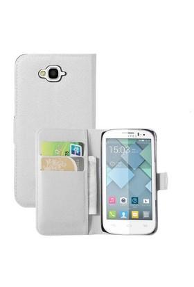 Microsonic Cüzdanlı Deri Alcatel One Touch Pop C7 Kılıf Beyaz