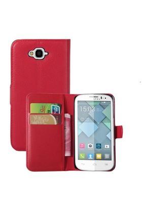 Microsonic Cüzdanlı Deri Alcatel One Touch Pop C7 Kılıf Kırmızı