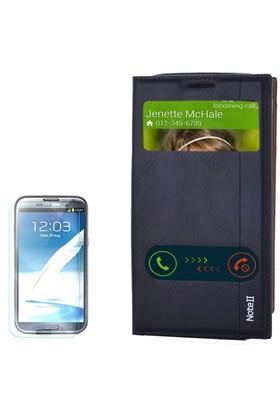 Gpack Samsung Galaxy Note 2 Kılıf Pencereli Kapaklı Milano Cam