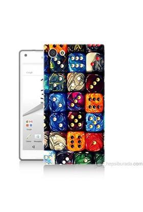 Teknomeg Sony Xperia Z5 Mini Kapak Kılıf Zarlar Baskılı Silikon