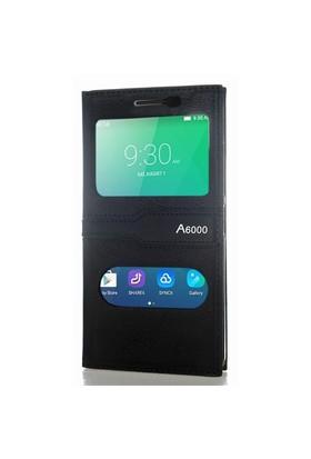 CoverZone Lenovo A6000 Kılıf Kapaklı Pencere Siyah