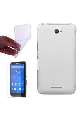 Gpack Sony Xperia E4 Kılıf 0.2Mm Şeffaf Silikon - Cam