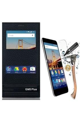 Kılıfshop General Mobile Gm5 Plus Pencereli Kapaklı Kılıf + Ekran Koruyucu
