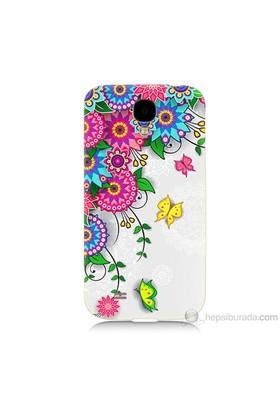 Teknomeg Samsung Galaxy S4 Kapak Kılıf Çiçek Ve Kelebek Baskılı Silikon