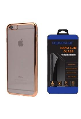 Cepsesuar Apple İphone 6S Plus Kılıf Silikon Lazer Gold + Cam