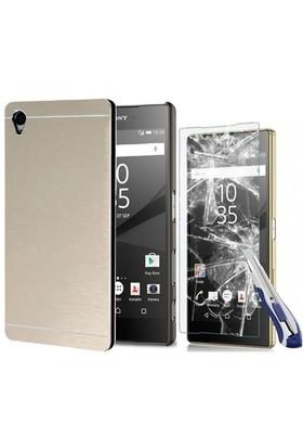 Kılıfshop Sony Xperia Z5 Premium Metal Kılıf (Gold) + Ekran Koruyucu