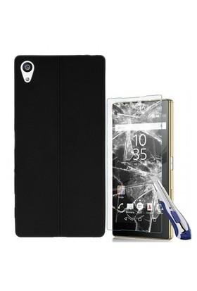 Kılıfshop Sony Xperia Z5 Premium Silikon Kılıf Dikiş Desenli (Siyah) + Ekran Koruyucu