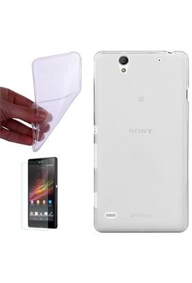 Gpack Sony Xperia C3 Kılıf 0.2Mm Şeffaf Silikon - Cam