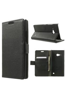 Teleplus Nokia Lumia 735 Cuzdanlı Kılıf Siyah