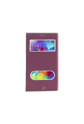Lopard Samsung Galaxy S5 Pencereli Mor Dolce Kapaklı Deri Akıllı Kılıf