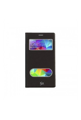Lopard Samsung Galaxy S5 Pencereli Siyah Dolce Kapaklı Deri Akıllı Kılıf
