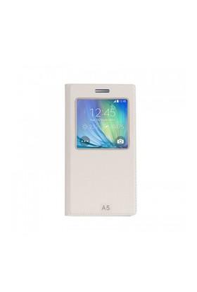 Lopard Samsung Galaxy A5 Pencereli Beyaz Dolce Kapaklı Deri Akıllı Kılıf