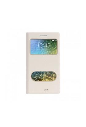 Lopard Samsung Galaxy E7 Pencereli Beyaz Dolce Kapaklı Deri Akıllı Kılıf