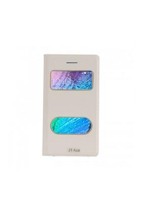 Lopard Samsung Galaxy J1 Ace Pencereli Beyaz Dolce Kapaklı Deri Akıllı Kılıf