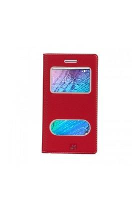 Lopard Samsung Galaxy J1 Pencereli Kırmızı Dolce Kapaklı Deri Akıllı Kılıf